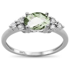 green amethyst white gold and diamond ring